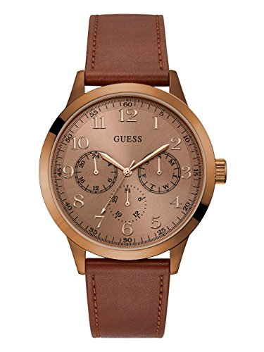 s Steel Leather Watch, Color: Brown (Model: U1101G3) ()
