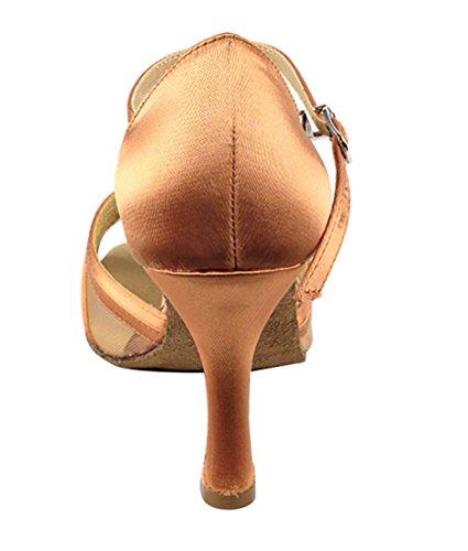 Very Fine Ballroom Latin Tango Salsa Zapatos De Baile Para Mujer Sera1398 2.5 Pulgadas Heel + Cepillo Plegable Bundle Tan Satin & Flesh Mesh
