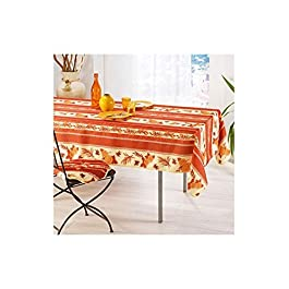 Fed Olivier Nappe Provençal Anti Taches 100% Polyester Tournesol Abeille Brique Couleur Brique, Format Rectangle, Dimension 240×150