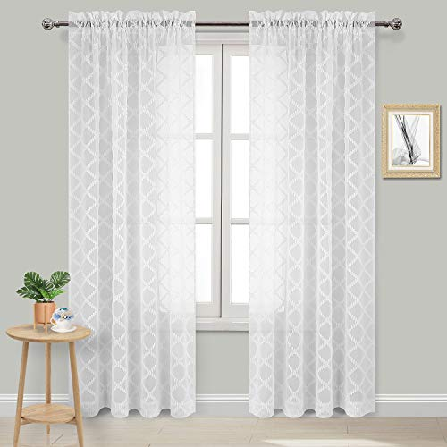 DWCN White Sheer Curtains Faux Linen Moroccan Drapes for Bedroom Living Room Rod Pocket Curtain Set of 2 Sheer Panels, 54x95 Inch Long ()