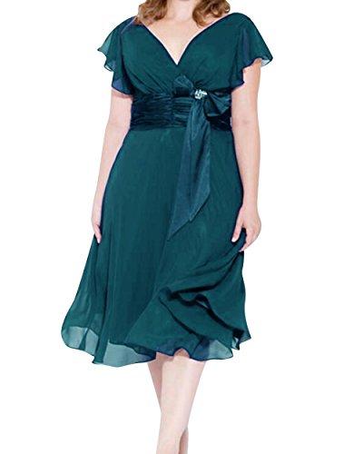 Dressyu Taille Plus Courte Robes De Demoiselle D'honneur V-cou En Mousseline De Soie Robe De Bal Ligne Femmes Paon