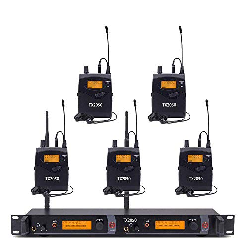 UHF Wireless In Ear Monitor System,Top Quality Pro Audio SR2050 Type 2 Channel 100 Frequency with 5 receivers For Stage & Studio ()
