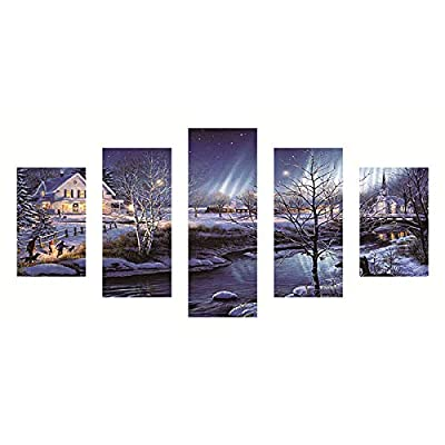 Chenway Happy Christmas Full Drill 5D DIY Point Diamond Painting - Crystal Rhinestone Embroidery Kit Home Decor - Snowing Santa 40 x 80cm
