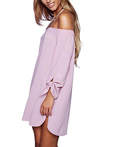 The just Long Pink Casual Women's Off Shoulder Dress 8650 quella Loose HI0wIa6