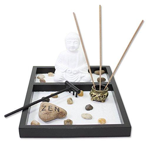 Mesa jardín zen Arena Blanca Buda quemador de incienso de Rock Rastrillo Home Decor