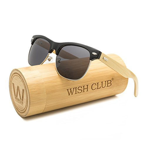 WISH CLUB Half Frame Handmade Wood Temple Square Wayfarer Sunglasses UV Lenses Club Master Classical Style for Women and Men Adults Wooden Bamboo Vintage Light Retro Sun Glasses with Box - Sunglasses Wayfarer Half