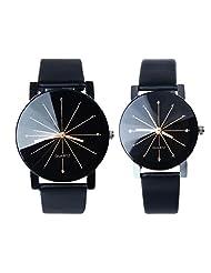 TOOPOOT® 1Pair Men and Women Quartz Dial Clock Leather Wrist Watch