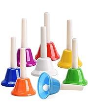 Facmogu Juego de 8 cascabeles de mano coloridos, 8 notas, instrumentos de percusión para festivales, enseñanza musical, boda, fiesta familiar