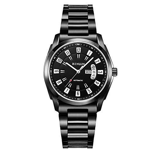 BINLUN Military Black Mens Automatic Watches Waterproof Stainless Steel Army Watch with Day and Date