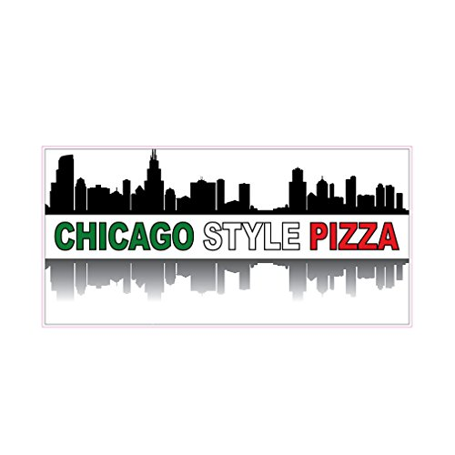 Chicago Style Pizza Concession Restaurant Die-Cut Window Static Cling 36 inches Inside - Glasses Chicago Store