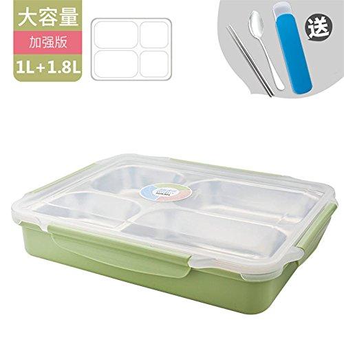 Luckyfree Mittagessen Behälter aus rostfreiem Stahl 304 mit Fächern Mikrowelle Bento Box für Studierende Erwachsene Kinder Das Essen bei Einem Picknick Behälter Edelstahl Raster Grün (Groß)