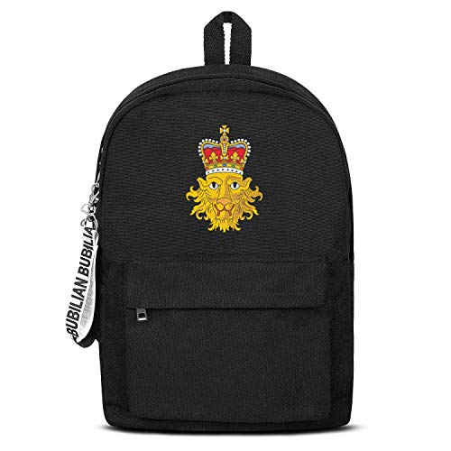 (TRYHTRHGH British Emblem Lion Head Black Canvas School Bag Backpack Girls Unisex Funny College Laptop Bag for Teens Girls Students Casual Lightweight Travel Daypack Outdoor )