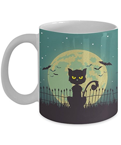 Black Cat Coffee Mug 11oz - Black Pussycat in Moon Bats Night Sky - Halloween 2017 Spooky Black Cat Yellow Eyes Cup