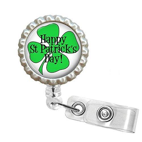 Saint Patrick's Day Bottle Cap Retractable Badge ID (Clover Bottle Cap)
