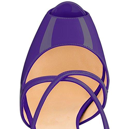 Coolcept Femmes Sexy Stiletto Sandales Pompes Slingback Brevet De Mariage Partie Bal Haut Talon Chaussures Violet