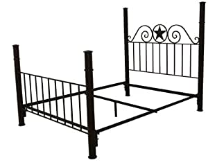 Amazon Com Rustic Western Queen Iron Frame Bed With
