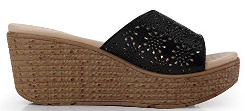 Kvinna Borrat Läder Plattform Hög Klack Flip Flops Sandaler Enkla Tofflor Svart