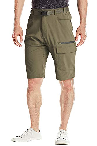 FASKUNOIE Men's Cargo Shorts Lightweight Messenger Short Pants with Zipper Pockets Army Green
