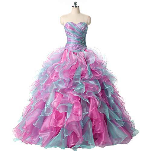 (ZVOCY Quinceanera Dresses Ruffles Rainbow Ball Gown Long Prom Dress Gray PinkMint)
