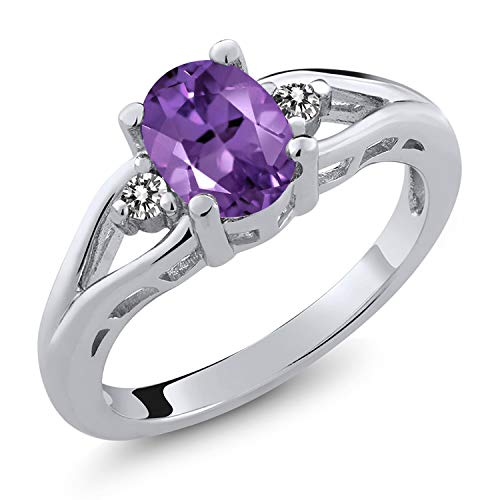 (Gem Stone King Amethyst and White Diamond 925 Sterling Silver 3-Stone Women's Ring (1.16 Cttw Oval Gemstone Birthstone Available 5,6,7,8,9) (Size)