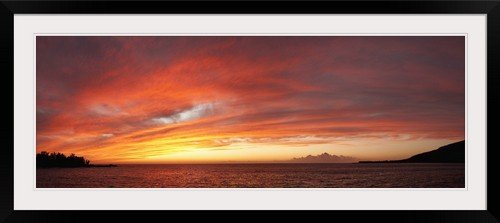GreatBIGCanvas ''Sea at Sunset, Kealakekua Bay, Kona Coast, Hawaii'' Photographic Print with black Frame, 48'' X 17'''' by greatBIGcanvas