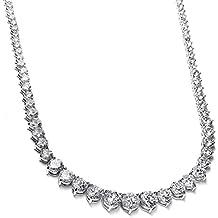 Mariell Graduated Cubic Zirconia Tennis Necklace - Platinum Plated Collar Style Wedding Statement Neck
