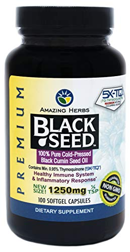 Amazing Herbs Premium Black Seed Oil 1250mg, 100 softgels - Cold-Pressed, ()