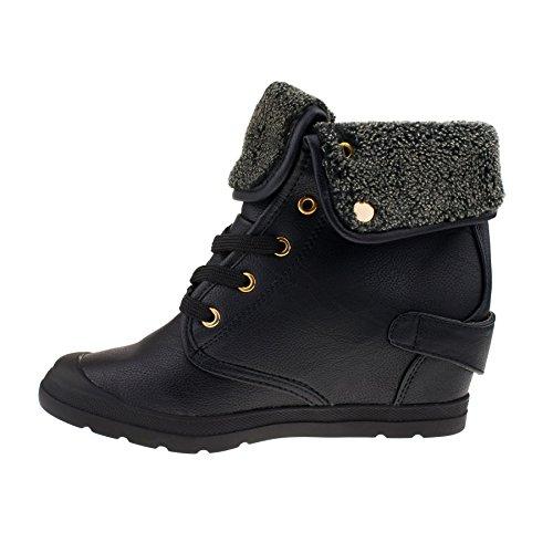 London Footwear ,  Damen Combat Boots Schwarz
