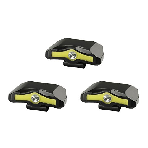 X-BALOG 3 Pack 350 Lumens LED Cap Light Clip Headlamp 2 Modes Rotatable COB Ball Hat Lamp Power by 3XAAA Batteries for Reading Fishing Working Walking the Dog -