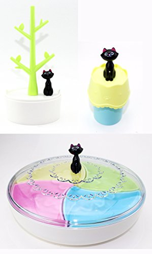 3 in 1: Cute Black Cat Multi-Purpose Food Storage Case + Cotton Swab/Q-tip Holder + Green Jewelry Box Hanger Rack (Cat Decorative Food)