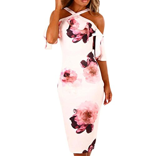 Women Dresses Summer On Sale Clearance Cuekondy Cross Off Shoulder Bodycon Cocktail Floral Dress Casual Party Evening Midi Dress Sundress (Pink, M)