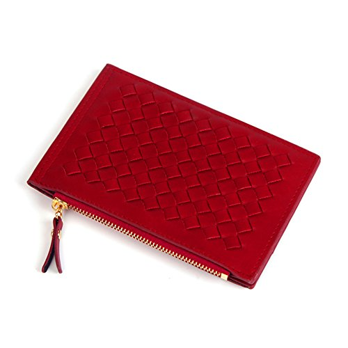 Ladies Handcrafted Woven PU Leather Zipper Small Wallets Ladies Purse Clutch Bag with Card Holders (Red)