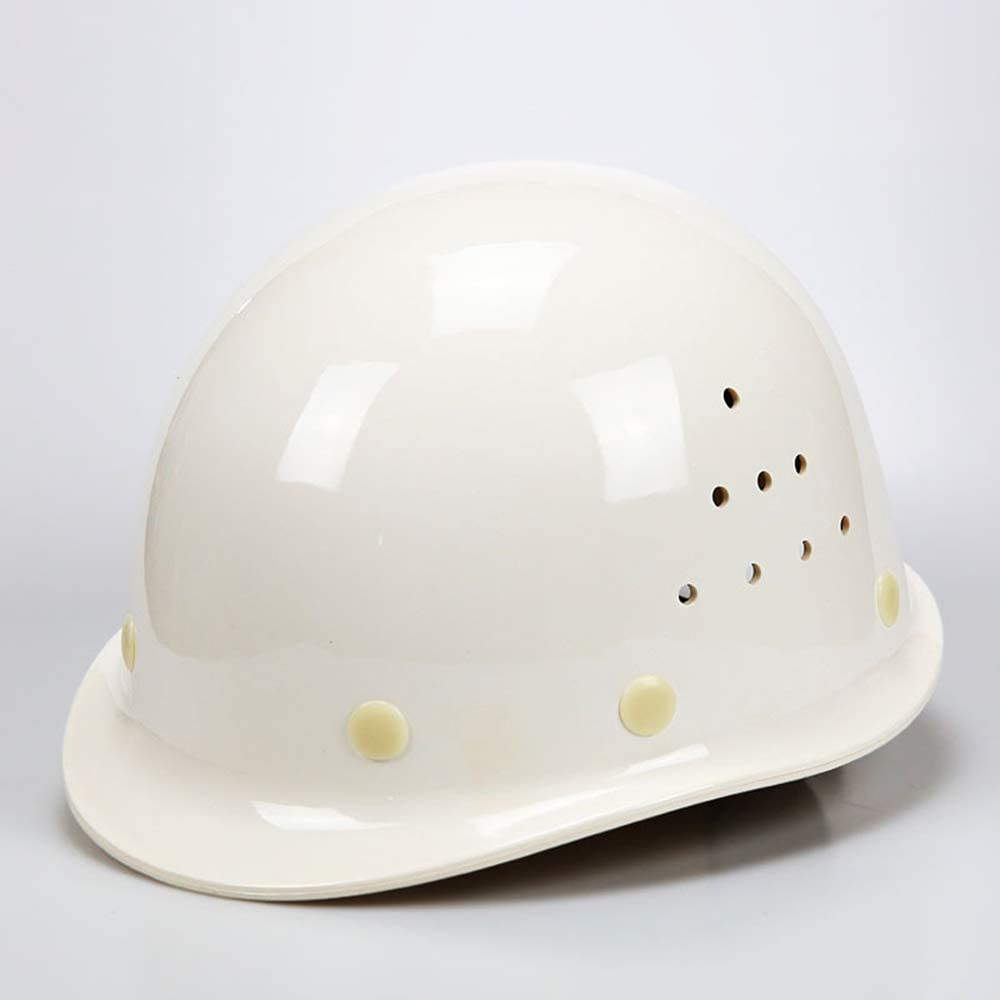 Yloty Casco de Resina ABS, diseño de ventilación de Dos Lados, Forro de Tela de 8 Puntos, absorción de Impactos cómoda, Casco de construcción con Correa para la Barbilla y Ajustable White