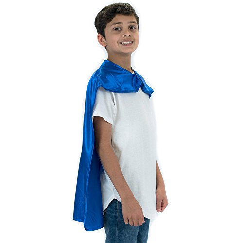 Blue Polyester Satin Superhero Cape - Kids