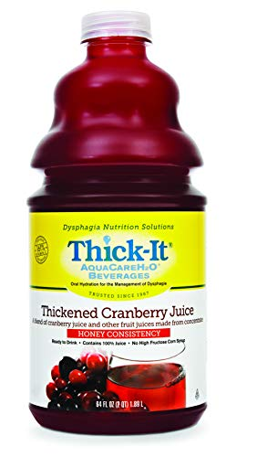 Thick-It AquaCareH2O Thickened Beverage 64 oz. Bottle Cranberry Flavor Ready to Use Honey Consistency, B460-A5044 – Case of 4