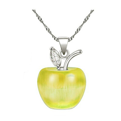 Uloveido Girl's Apple Necklace Silver Color Chain Fruit Pendant Necklace Rhodium Plated, Mothers Necklace YL007-Yellow ()