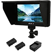 VILTROX DC-70 II Clip-on Color 7 HD LCD Video Monitor 1024600 Display Screen with F550 Battery Set for Nikon,Canon,Sony DSLR Camera Camcorder