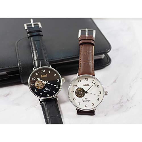 Mekanisk klocka för män med brunt läderarmband – herrklocka ARBUTUS klockor för män (automatiska klockor med automatiskt urverk utan batteri/brun/läder)
