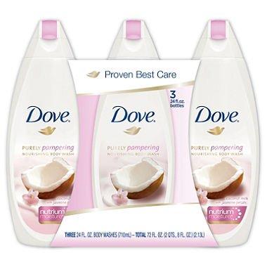 Dove Purely Pampering Body Wash, Coconut Milk 24 fl. oz., 3 pk.