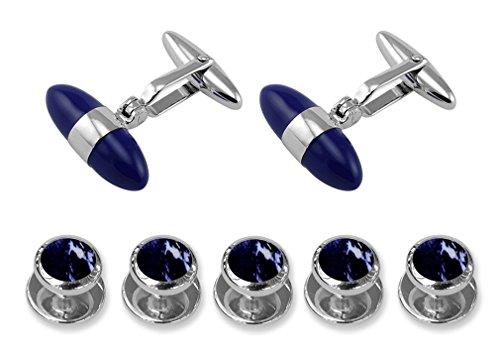 - Sterling Silver Lapis Bullet Cufflinks Shirt Dress Studs Gift Set