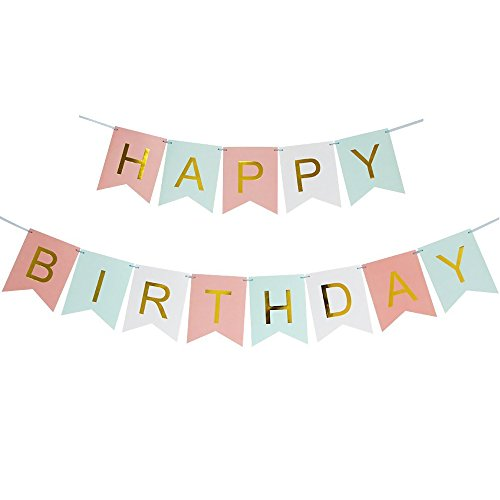 DecentGadget Happy Birthday Banner Decorative Bunting With Shimmering Gold Letters Party Decoration Supply (Blue+Pink+White)