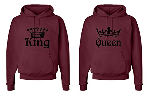 FASCIINO Matching His & Hers Couple Hooded Sweatshirt Set - King and Queen Crowns (King Shirt: Small/Queen Shirt: Small Maroon) by FASCIINO