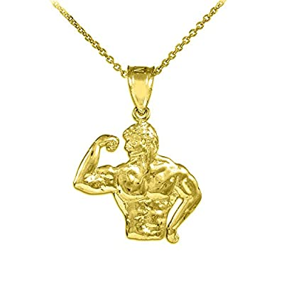 10k Yellow Gold Bodybuilder Sports Pendant Necklace