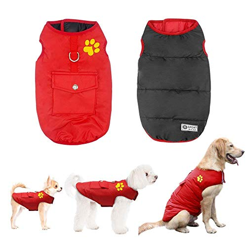 Didog Winter Waterproof Dog Vest Coats Jackets,Warm Reversible Outwear for Small Medium Large Dogs,Red,L Size