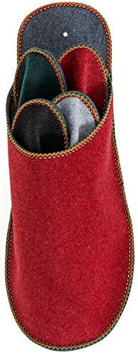 Pantoffelmann Gästepantoffelset Aus Filz Gästepantoffel Filzpantoffel platzsparend und Faltbar Herren Hausschuhe Schlappen Bordeaux