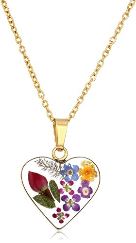 14k Gold Over Sterling Silver Multi-Colored Pressed Flower Heart Pendant Necklace, 16