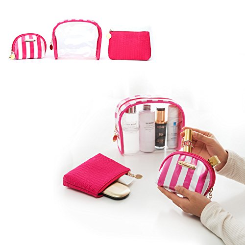 Makeup Bags 3pcs, Wuhua Cosmetic/Travel Bags,Multifunction Toiletry Pouch for Women, Clear PVC Portable with - Free Shipping With Overnight Stores