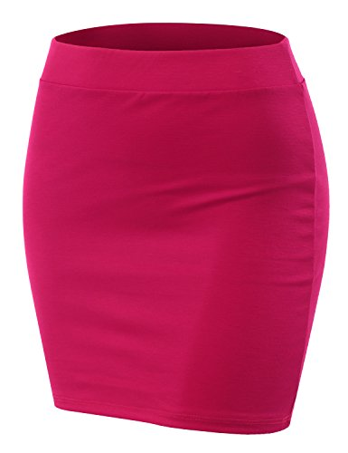 Doublju Stretch Knit Bodycon Mini Skirt for Women with Plus Size