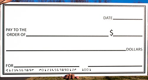 Giant Fake Check 16 x 32 Made of Durable Corrugated Plastic. Big Oversized Cheque is Perfect for Awards, Gifts, Endowments Donations, Celebrations & Raffle Winners. Checks Are Smudge-Free Once Dry