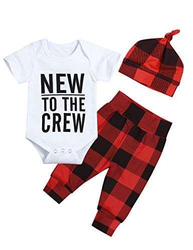 Newborn Baby Boy Clothes New to The Crew Letter Print Romper Plaid Pants + Cute Hat 3pcs Outfits Set(0-3M)]()